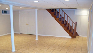 A complete finished basement system in a  home