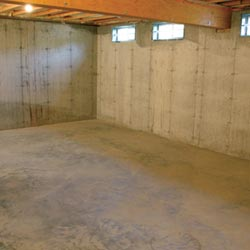 A cleaned out basement in , shown before remodeling has begun