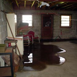 A flooded basement showing groundwater intrusion in