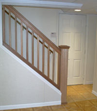 Renovated basement staircase in